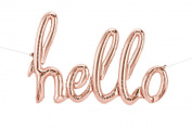 Hello Script 120cm Foil Balloon - Rose Gold