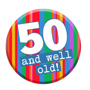 50th Birthday Badge 50 Today 58mm Pin Button Novelty Gift Men Women