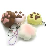 4Pcs Kawaii Squishy Mini Bear Cat Paw Bread Phone Charm Bag Strap Kids Squeeze Toy Gift