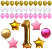 First Birthday Decoration, Pink White Gold Balloons Kit, Perfect for 1st Bday Party Supplies, Girl or Boy, Number One 1, Latex Stars and Round Ballon