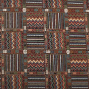 Aztec Patchwork Abstract Tapestry Curtain Cushion Furnishing Upholstery Fabric