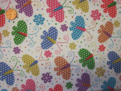 The Craft Junction Multicoloured Butterflies/Butterfly Print Polycotton Fabric Craft Dressmaking Sewing - Per Metre