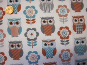 The Craft Junction Coloured Owls Flowers Floral Grey Turquoise Brown polycotton Fabric Material Craft Dressmaking Sewing - Per Metre