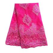 pqdaysun 5 Yards African Lace Fabrics Nigerian French Beaded Tulle Fabric F50343