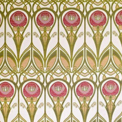 Charles Rennie Mackintosh Style Fabric - Red and Gold Jacquard Weave, Sample 10 x 14 cm