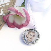 Crystal Picture Frame Bouquet Charm for 2 Photos - Memory Locket - Brides Keepsake