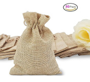 30pcs Burlap Bags Jewellery Pouches with Drawstring, Resusable Gift Bag Jute Hessian Linen Goodie Bag Packing Storage for Wedding Party Bridal Shower Birthday Christmas DIY Craft Favour, 13cm x 10cm DIKETE®