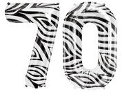 Zebra Pattern Number Foil Balloon (Seventy