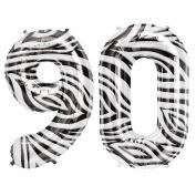 Zebra Pattern Number Foil Balloon (Ninety