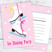 Ice Skating Party Invitations - Kids Birthday Party Invtes - A6 Postcard Style with envelopes