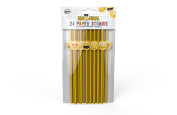 NPW Emoticon Paper Straws - Yellow Novelty Straws Set Get Emojinal