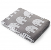 """3 Metres of 100% Cotton Fabric - White Elephants On Grey 64"""" (160 cm) Wide"""