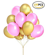Fecedy 100pcs Gold Pink Balloons for Party decoration 30cm