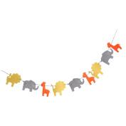 Sharplace Sweet Animal Bunting Banner Kids Birthday Childrens Day Hanging Decor