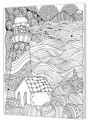pintcolor 7163.0 Printed Canvas Colouring, of Fir Wood/Cotton, White/Black, 40 x 50 cm