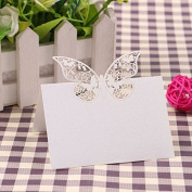 CALISTOUK 50pcs Place Card Holder Butterfly Table Name Number Wedding Decoration