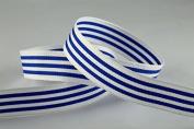 15mm Blue & White Modern Stripes Ribbon x 20 Metre Rolls