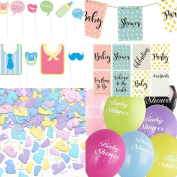 Baby Shower Decorations Party Pack Banner, Photo Props, Balloons confetti Unisex Boy Girl .