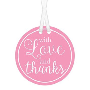Pink 'With Love & Thanks' Favour Tags. Pack of 25. Wedding, Birthday, Baby Shower, Special Occasion