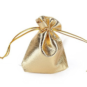 50pcs Drawstring Voile Jewellery Pouch Wedding Party Favour Gift Bags Gold