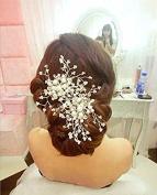 Veewon Fashion Retro Elegant Ladies Pearl Rhinestone Hair Clip Wedding Bridal Jewellery Bridal Hair Accessories Headpiece Wedding Accessories