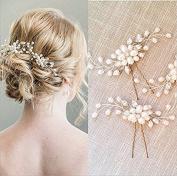 Veewon 2pcs Fashion Retro Elegant Ladies Pearl Rhinestone Hair Clip Wedding Bridal Jewellery Bridal Hair Accessories Headpiece Wedding Accessories