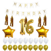 16th Birthday Party Decorations Kit with Happy Birthday Banner Sign, Number 16 Mylar Balloon, Gold Tassels, Gold White Latex Ballon, Perfect 16 Year Old Party Supplies Free Printable Bday Checklist