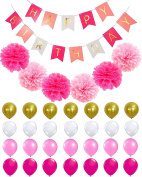 Happy Birthday Banner PomPom Decorations - Perfect Party Supplies Kit, Hot Pink, Pastel Light Baby Pink, White Gold Foiled Bunting Flag Garland, Tissue Paper Fluffy Flower Pom Poms, Balloons,Girl Boy
