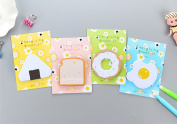 Affe 4 Pcs Cartoon Breakfast Self-Adhesive Mini Memo Pad Sticky Notes Label Office School Supplies Kids Gift