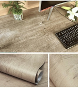 Decorative Faux Wood Grain Contact Paper Vinyl Self Adhesive Shelf Drawer Liner for Bathroom Kitchen Cabinets Shelves Table Arts and Crafts Decal 60cm x 300cm