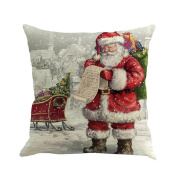 Keepwin Santa Claus Printing Pillow Cover Throw Pillowcase Cushion Cover for Sofa, Hidden Zipper, 46cm x 46cm - Pefect Christmas Gift