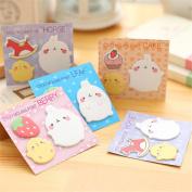 Affe 4Pcs Kawaii Rabbit Sticky Notes Self-Adhesive Memo Pad Cartoon Sticker Label School Office Supply