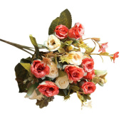 Artificial Flowers - Roses Silk Flowers Bouquet Home Wedding Party Table Floral Decoration by Keepwin
