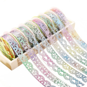 HuifengS Washi Tape 7 Rolls Lace Flower DIY Decorative Masking Sticky Adhesive Tape for Notebook Scrapbook DIY Home Decoration