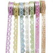 HuifengS 7 Rolls Washi Tape Lace Pattern Glitter Self-adhesive Tape Masking DIY Scrapbooking Decorating Stickers
