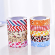 HuifengS 10 Rolls Washi Tape Decorative Craft Tape Collection for DIY and Gift Wrapping With Colourful Designs and Patterns