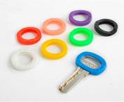 EXOH 8Pcs Colour ID Identify Key Ring Assorted Plastic Sleeve Cap Tag