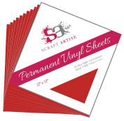 12x12 Permanent Vinyl, 10 Pack Red Outdoor Adhesive Backed Craft Sheets in Matte Finish for Silhouette and Cricut to Make Monograms Stickers Decals and Signs by Scraft Artise