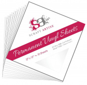 12x12 Permanent Vinyl, 10 Pack White Outdoor Adhesive Backed Craft Sheets in Glossy Finish for Silhouette and Cricut to Make Monograms Stickers Decals and Signs by Scraft Artise