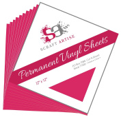 12x12 Permanent Vinyl, 10 Pack Dark Pink Outdoor Adhesive Backed Craft Sheets in Matte Finish for Silhouette and Cricut to Make Monograms Stickers Decals and Signs by Scraft Artise