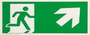 smartboxpro 245186210 Sign – Emergency Exit Right/Upper 29.7 x 14.8 cm green/white