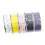 Jooks Lace Tape Sticky Adhesive Tape Paper Adhesive Tape Decorative Sticky Tape Adhesive Cotton Clear Washi Tape For DIY Craft 5 Pieces Random Colour