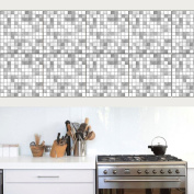 JHYS TS021 Silver Mosaic pattern Tile stickers Decals Home Kitchen Decoration Waterproof Wallpaper 20 * 20cm * 10pcs