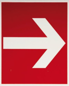 smartboxpro 245146910 FIRE SAFETY SIGN – Direction Indicator, 20 x 20 cm, Red/White