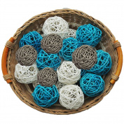 15PCS Mixed Baby Blue Grey White Natural Wood Rattan Ball Christening Elephant Boy Baby Shower Decoration Nursery Mobiles
