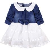 Bestanx Toddler Girls Long Sleeves Bowknot Denim Dress Baby O Neck Tutu Dress
