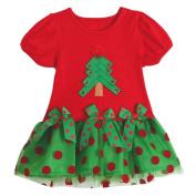 Bestanx Baby Girls Short Sleeves Christmas Dress O Neck Wave Point Princess Dress
