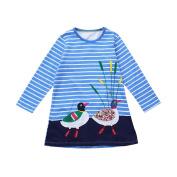 Girls Long Sleeve Dress,Brydon Childrean Kid Autumn Hedgehog Embroidery Princess Party Dress Clothes