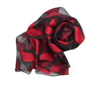 Kavitoz Fashion Women Leaves Long Soft Wrap scarf Ladies Shawl Organza Scarf Scarves Luxurious Finishing Touch To Any Outfit