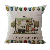 Happy Campers Pillow Cover Pillow Cases Pattern 3